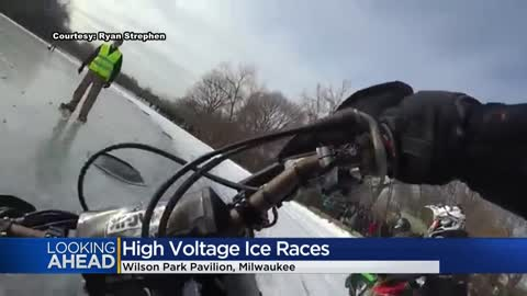 Motorcycles racing on ice this weekend in Oshkosh for national...